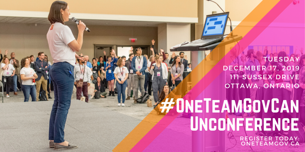 Photo from June 2019 OneTeamGov Unconference. Unconference details listed on pink & orange panel to the right of the image.