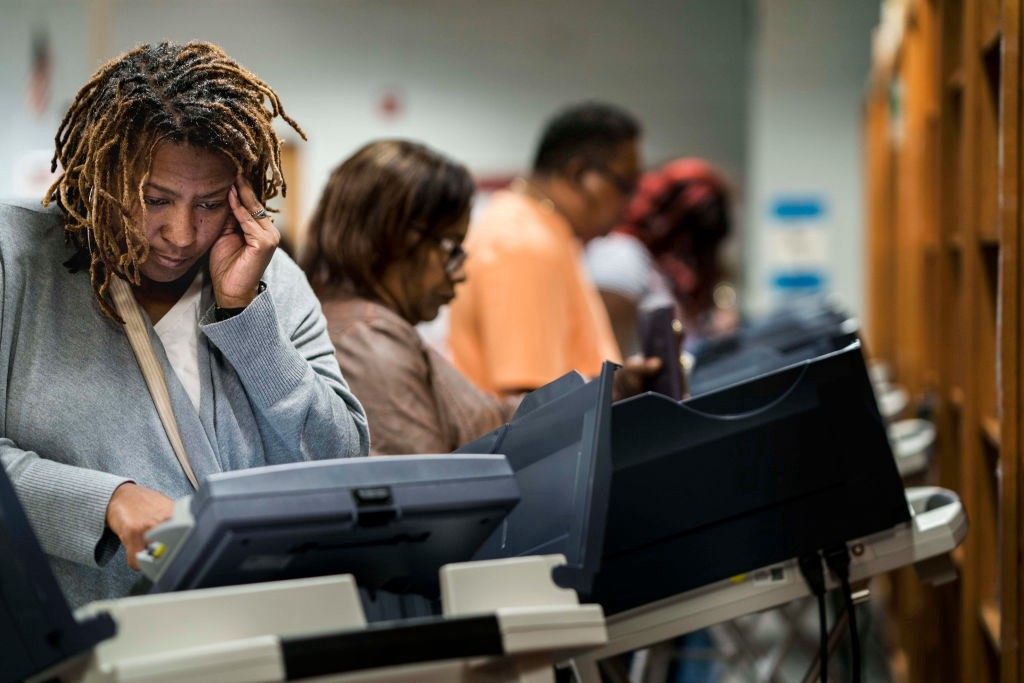 A photo of black voters at the poll in Georgia.