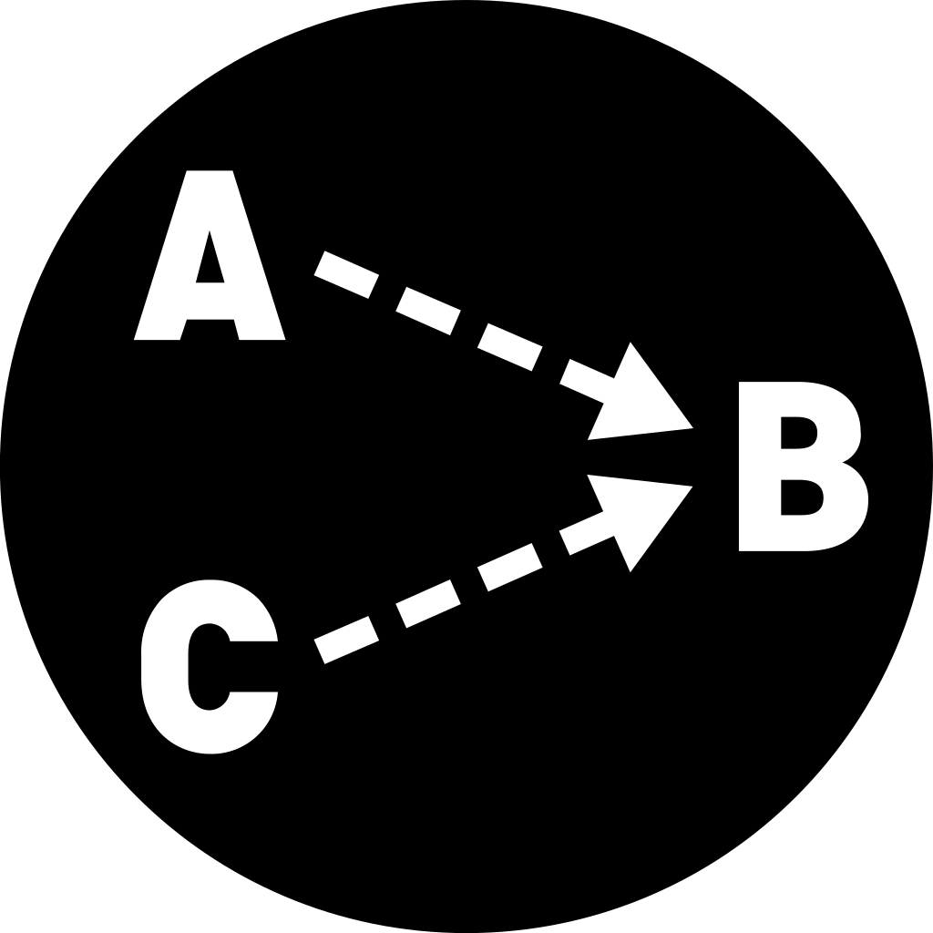The single cause icon: a triangle whose vertices are labeled A, B and C. A and B are joined to C by arrow-tipped dotted lines.