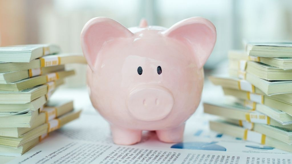 a piggy bank surrounded by stacks of money