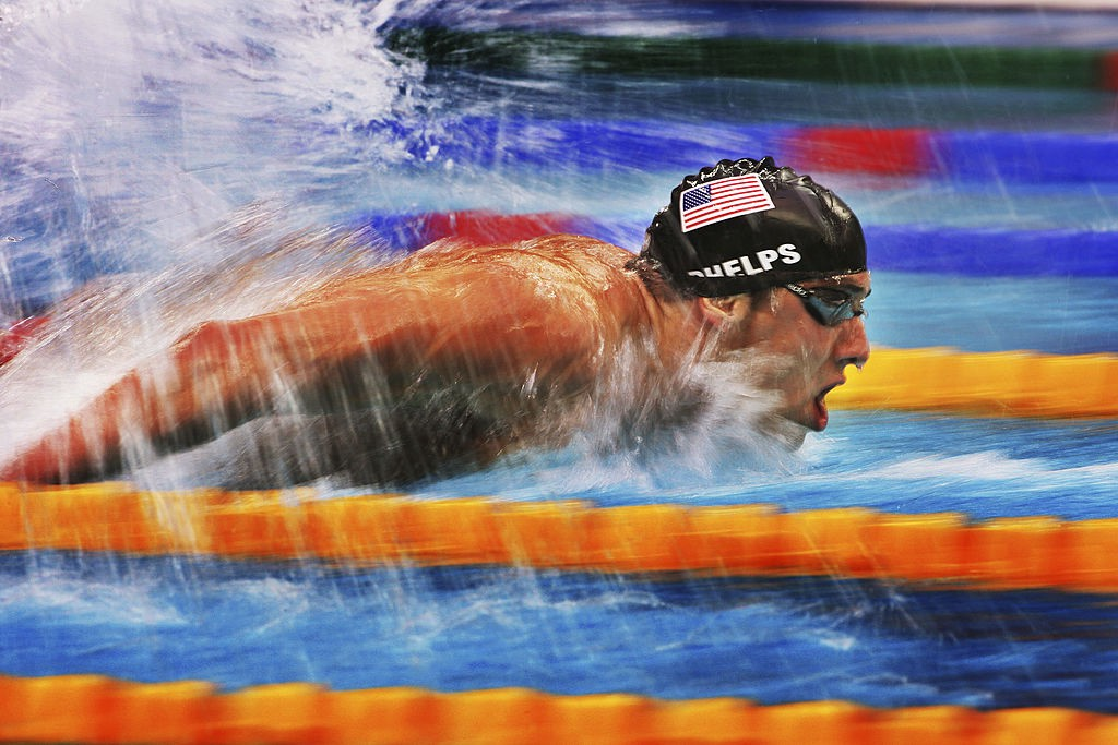 A photo of Michael Phelps swimming the 2008 Beijing Olympics 200m butterfly semi-finals.
