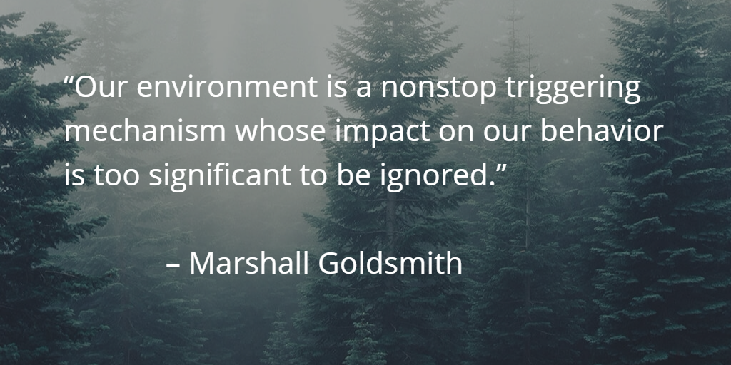Our environment is a nonstop triggering mechanism whose impact on our behavior is too significant to ignore (M. Goldsmith)