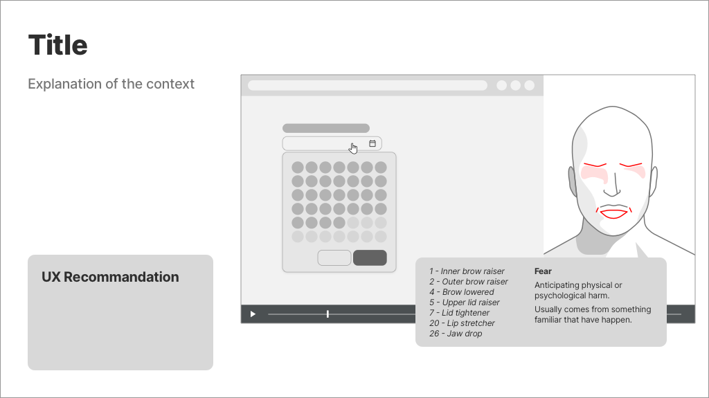 Powerpoint slide with a micro-expression, the FACS code associated, an explanation of the context and an UX recommandation.