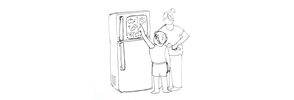A sketch of a mother and child charting out their meals on a fridge door