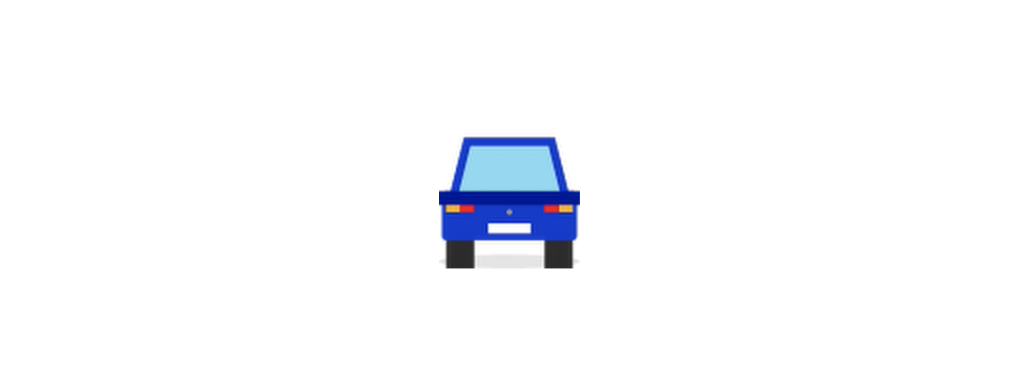 Cartoon of a polygonal car seen from the back