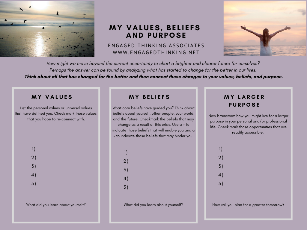 Thinking about all that has changed for the better in our lives. Connect these changes to your values, beliefs and purpose.