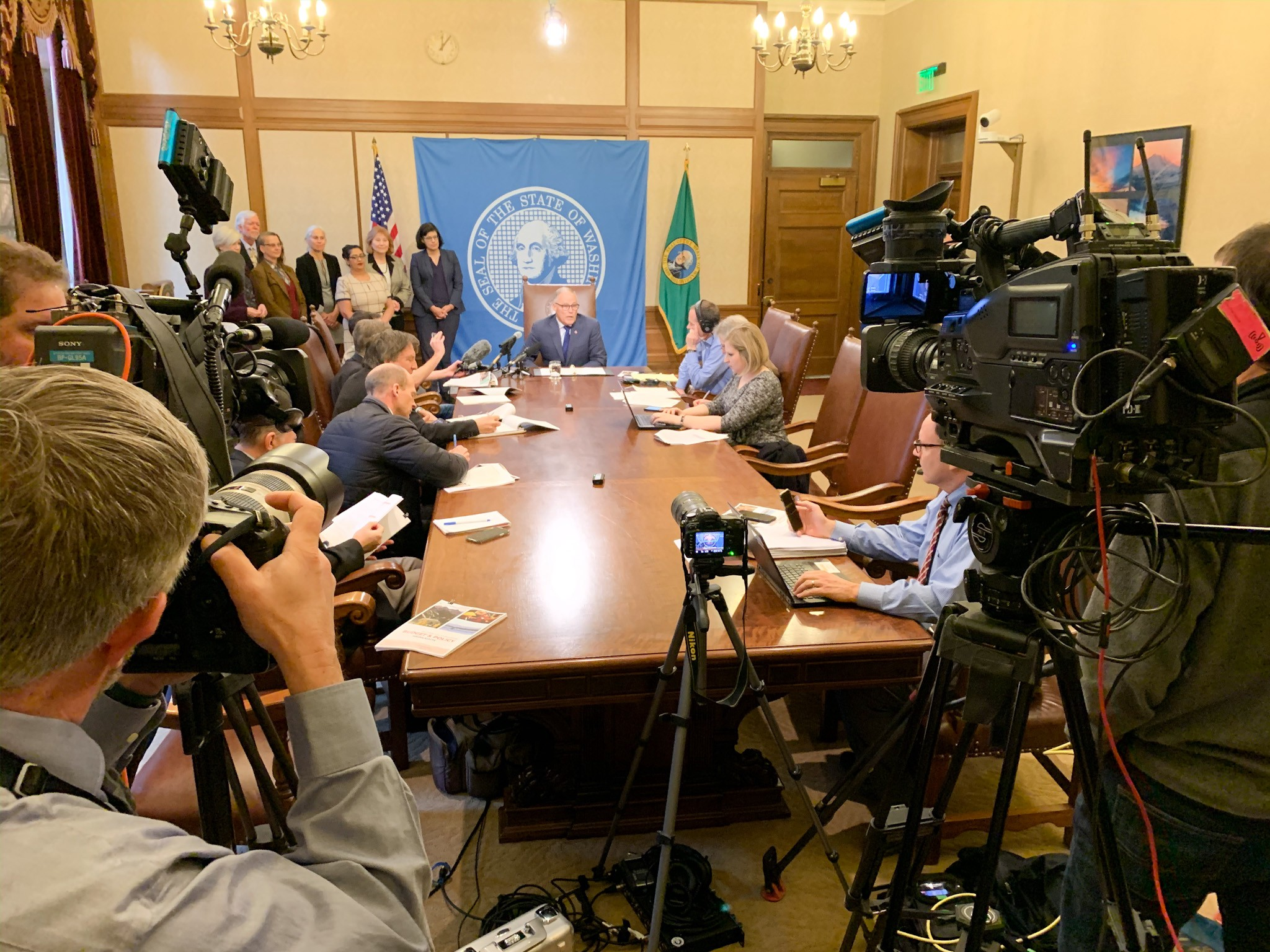 Gov. Jay Inslee speaks to reporters during his 2020 budget rollout Wednesday in Olympia. (Office of the Governor photo)