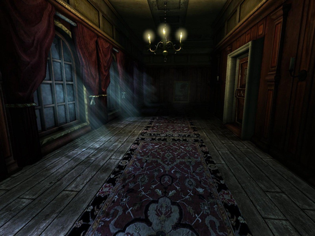 A hallway, moonlight shines through the window. Candle lights red curtains and a delicate ornate carpet sits on the floor.