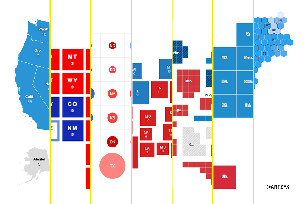 The United States political map represented in the Election 2020 data visualization by various media outlets