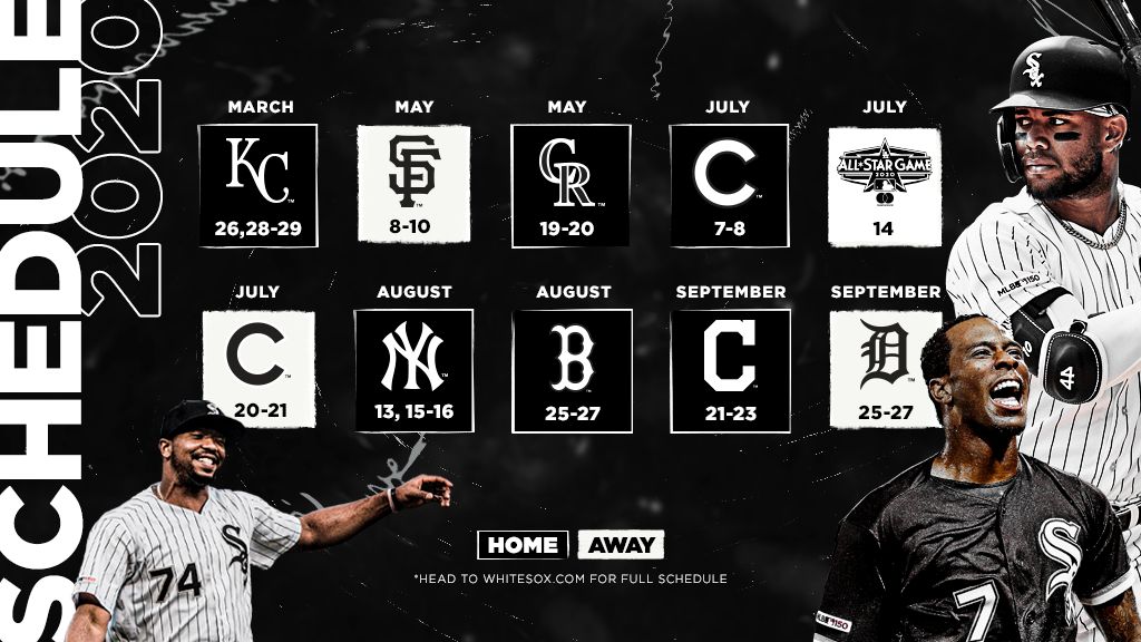 photo relating to White Sox Printable Schedule called White Sox Announce 2020 Month to month-Time Timetable - Within the