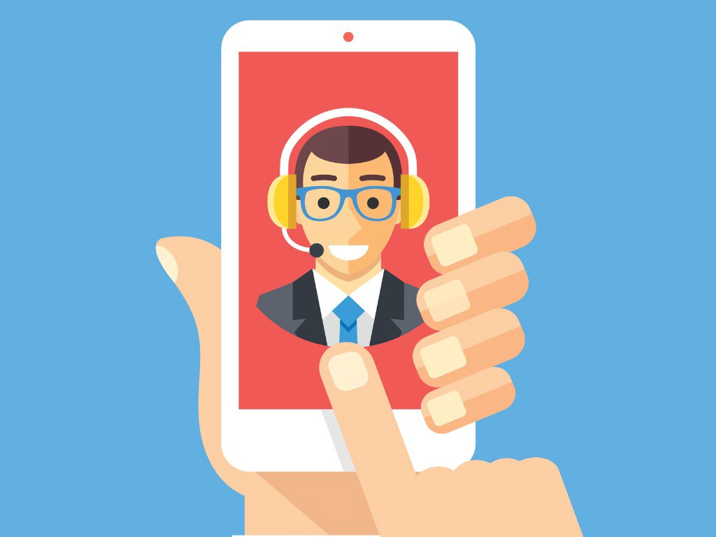 Illustration of person holding up phone with a man wearing a headset on the screen.