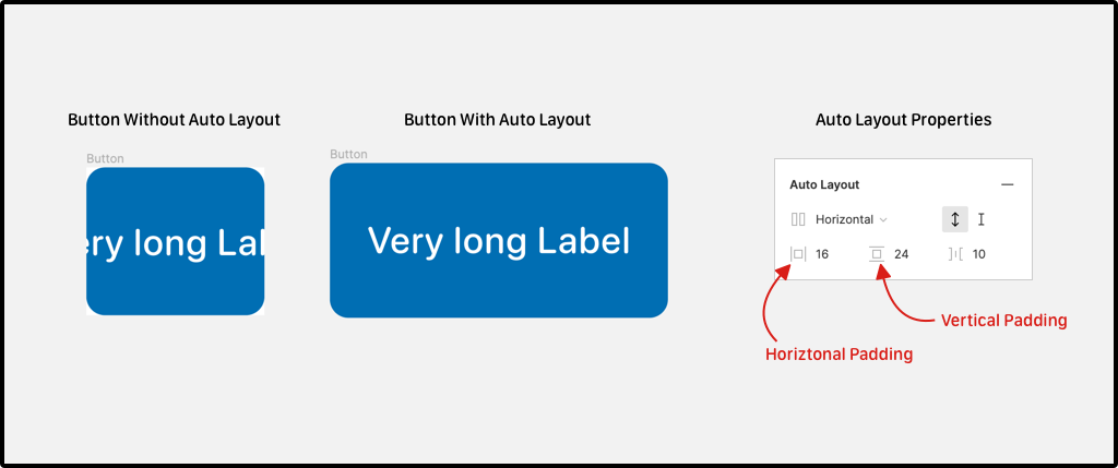 Button without and with the Auto Layout Property.