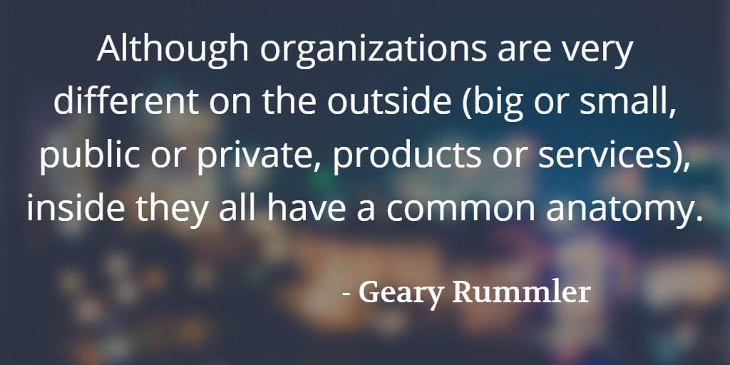 Rummler quotation: Although organizations are very different on the outside…they all have a common anatomy.