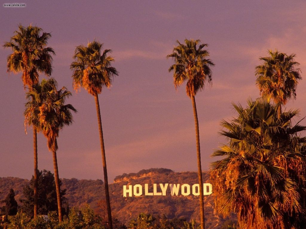 The Hollywood sign with palm trees in the foreground