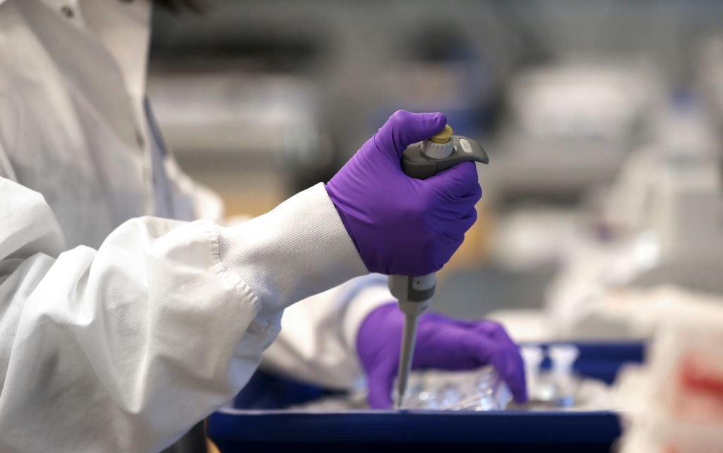 A photo of Xinhua Yan working at a lab in Cambridge. She is wearing purple gloves and pipetting.