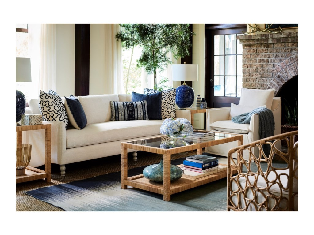 Blue and white furniture in coastal living room