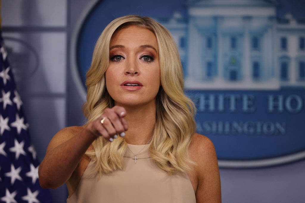 A photo of Kayleigh McEnany at a White House press briefing on June 30th, 2020.