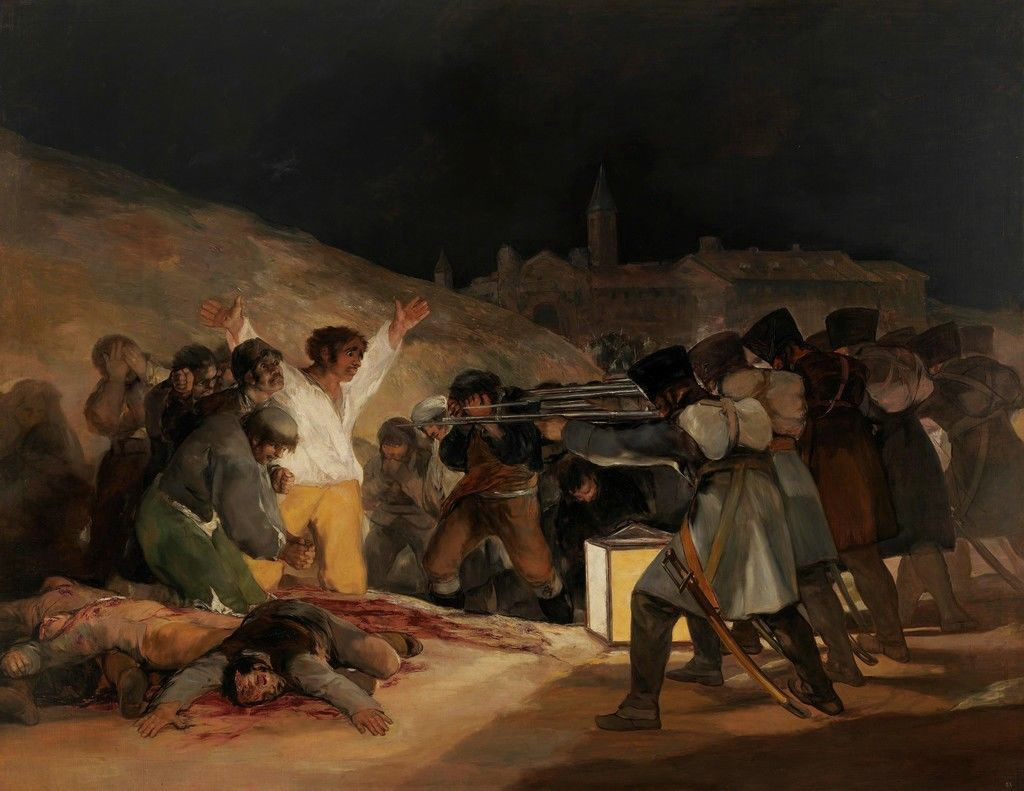 """Francisco Goya's """"Third of May 1808"""", depicting a firing squad of French soldiers killing Spanish civilians."""
