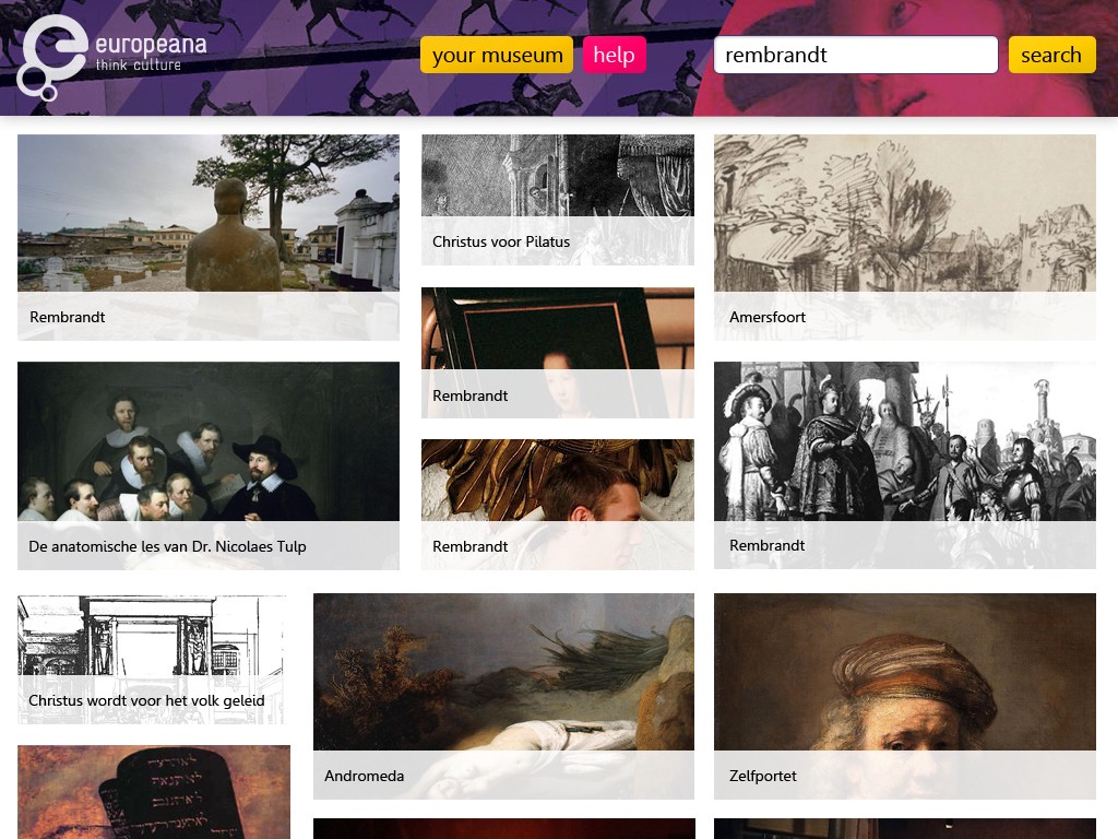 Visually unappealing mockup of the proposed Europeana Open Culture app.