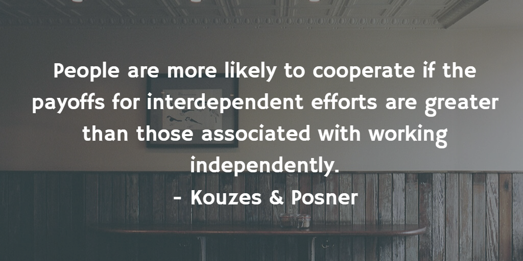 Kouzes & Posner quote: People…cooperate if the payoffs for interdependent efforts are greater…than working independently.