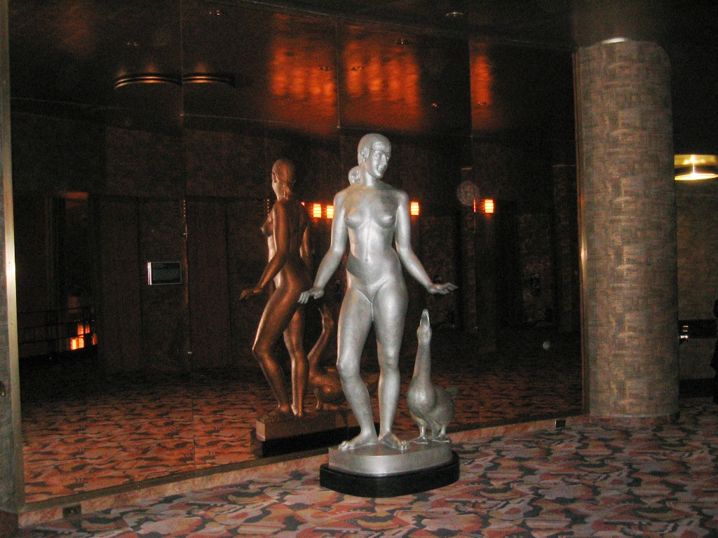"Photographed by Andreas Praefcke, via WikiCommons. Aluminum statue ""Goose Girl"" by Robert Laurent at Radio City music Hall"