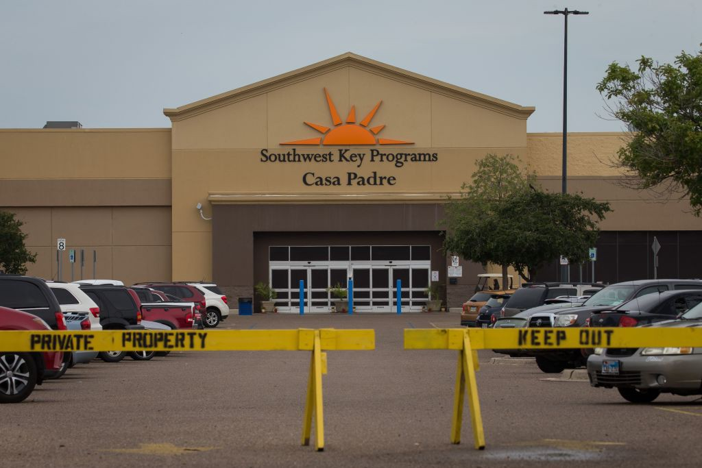 A former Walmart Supercenter repurposed as a migrant children's shelter, with a new name Southwest Key Programs Casa Padre.