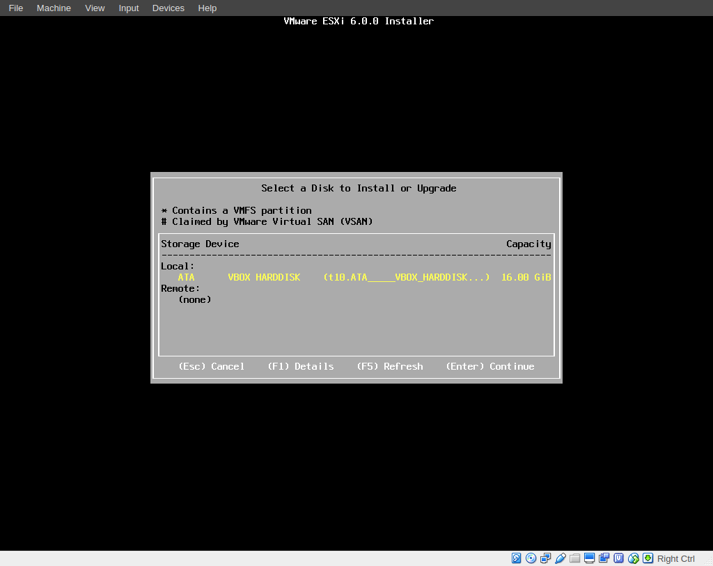 Setting up a local vSphere Hypervisor on VirtualBox