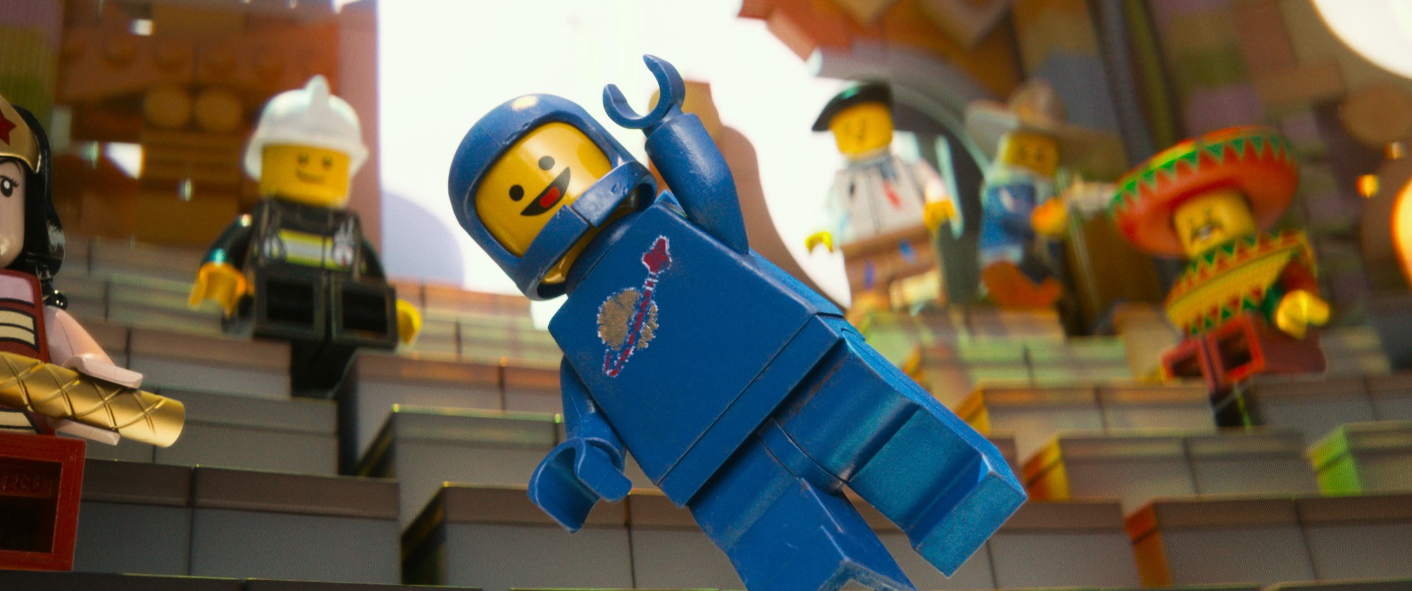 "A Lego astronaut jumping up and saying ""Yes!"""
