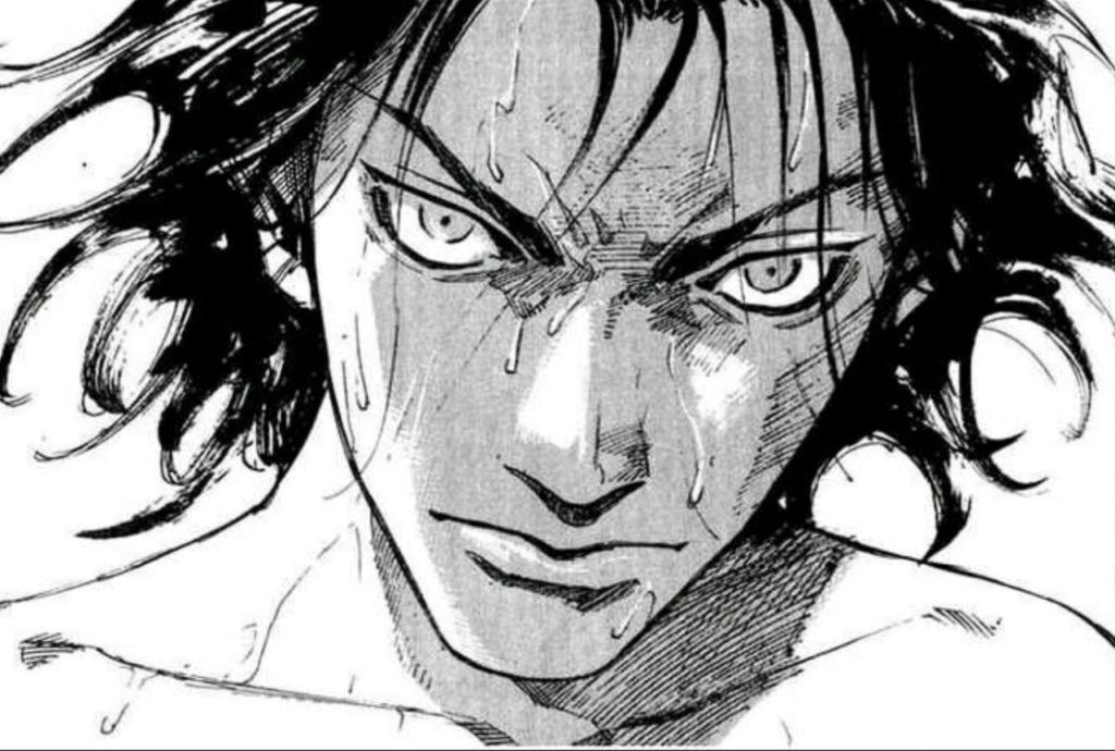 Shoulder shot of Tenshu, main protagonist in the Alive manga, who stares angrily at the reader.