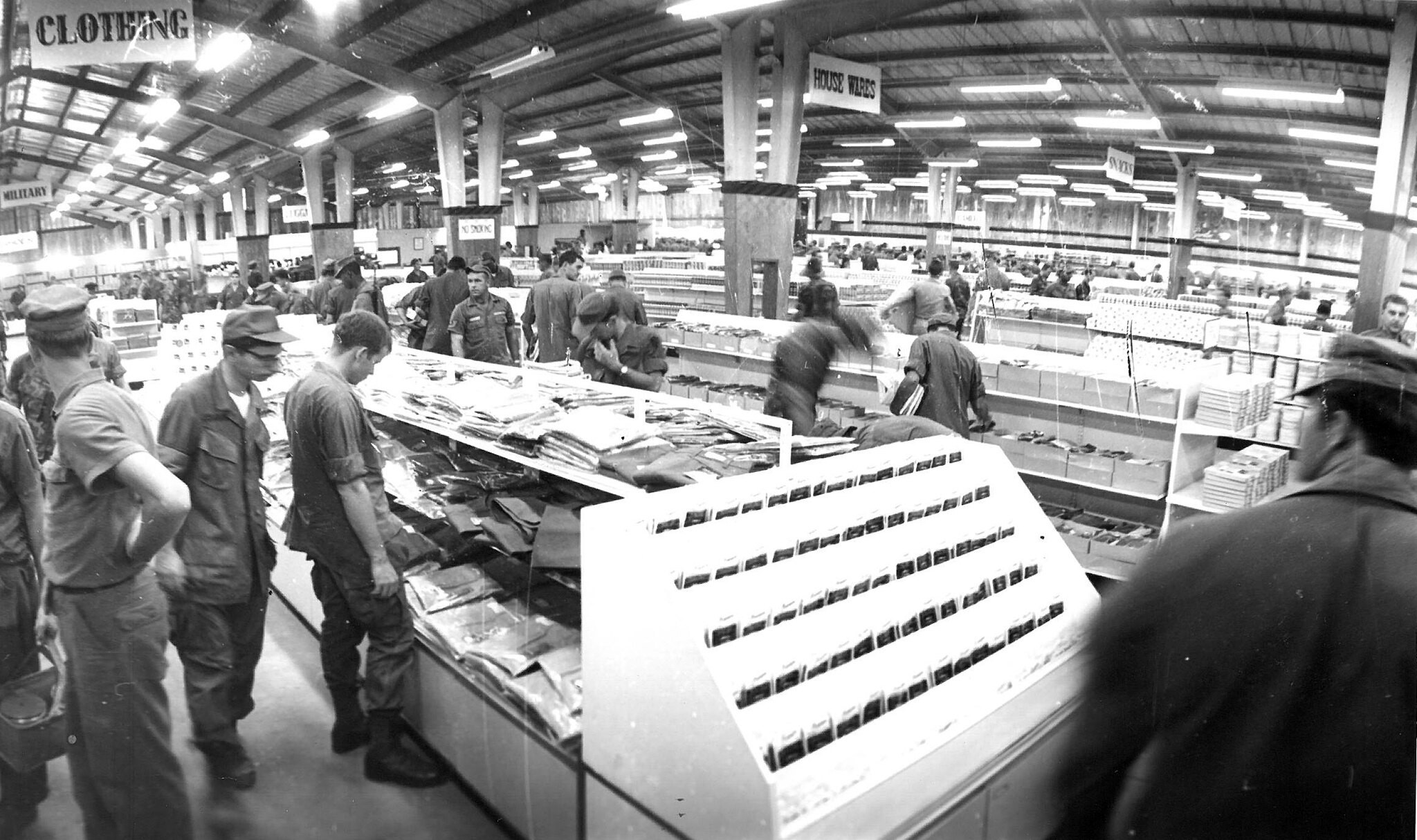 American troops shop at one of over 300 PX stores in Vietnam at the height of the conflict. Credit: With kind permission, AAFES.©
