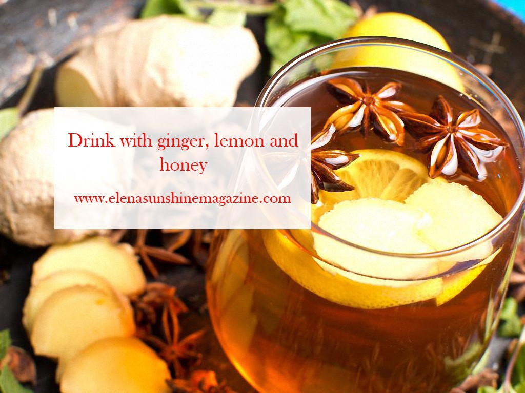 Immunity drink with ginger lemon and honey