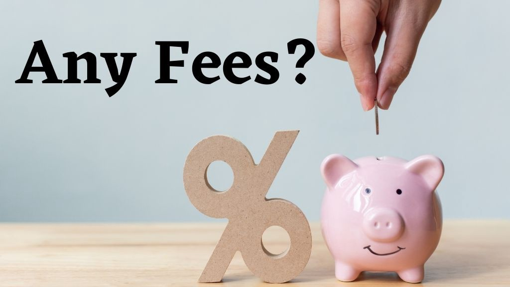 Image of a piggy bank with a percentage sign next to it. The image asks the question: are there wealth management fees?