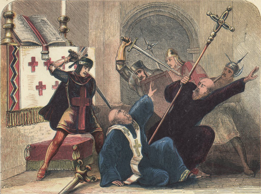 Several knights are depicted thrusting long swords into the collapsing body of a bishop