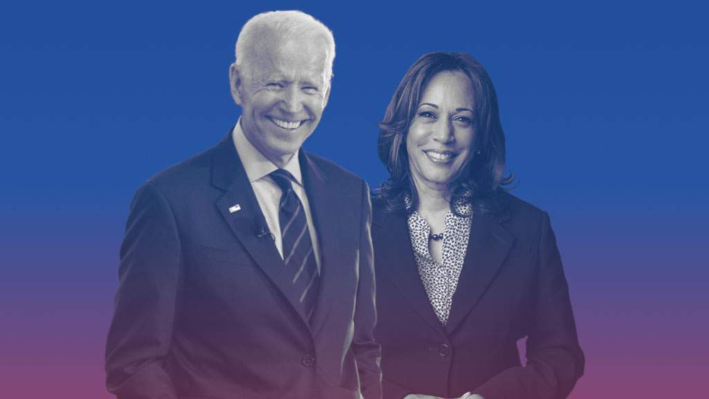 Former Vice President Joe Biden and Senator Kamala Harris standing next to each other. (joebiden.com)