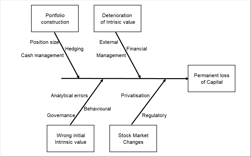 Fishbone diagram shown the causes of a permanent loss of capital