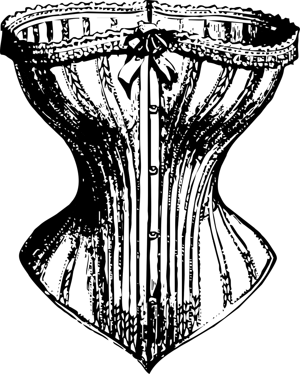 A drawing of a black corset, Victorian style.