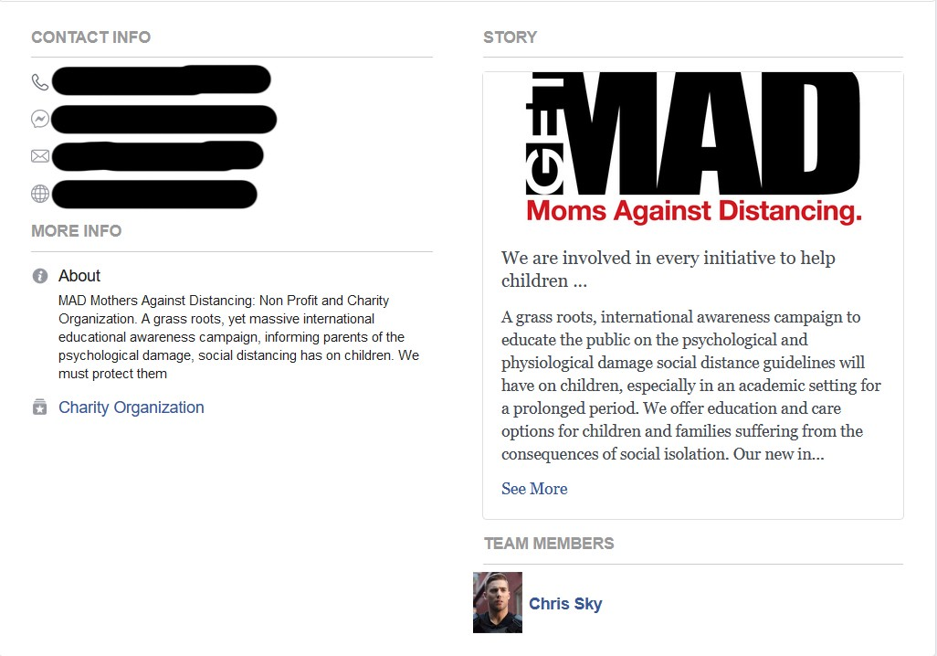 Information about Moms Against Distancing, the logo of which parodies Mothers Against Drunk Driving.