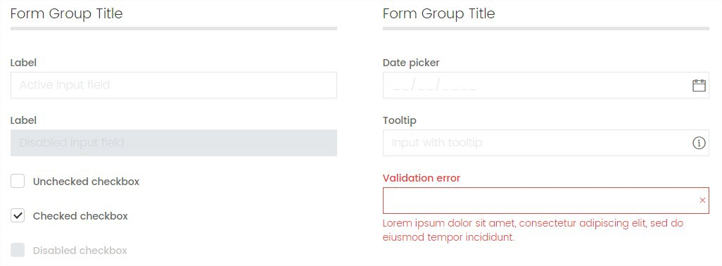 Example snippets of some form elements from the pattern library.