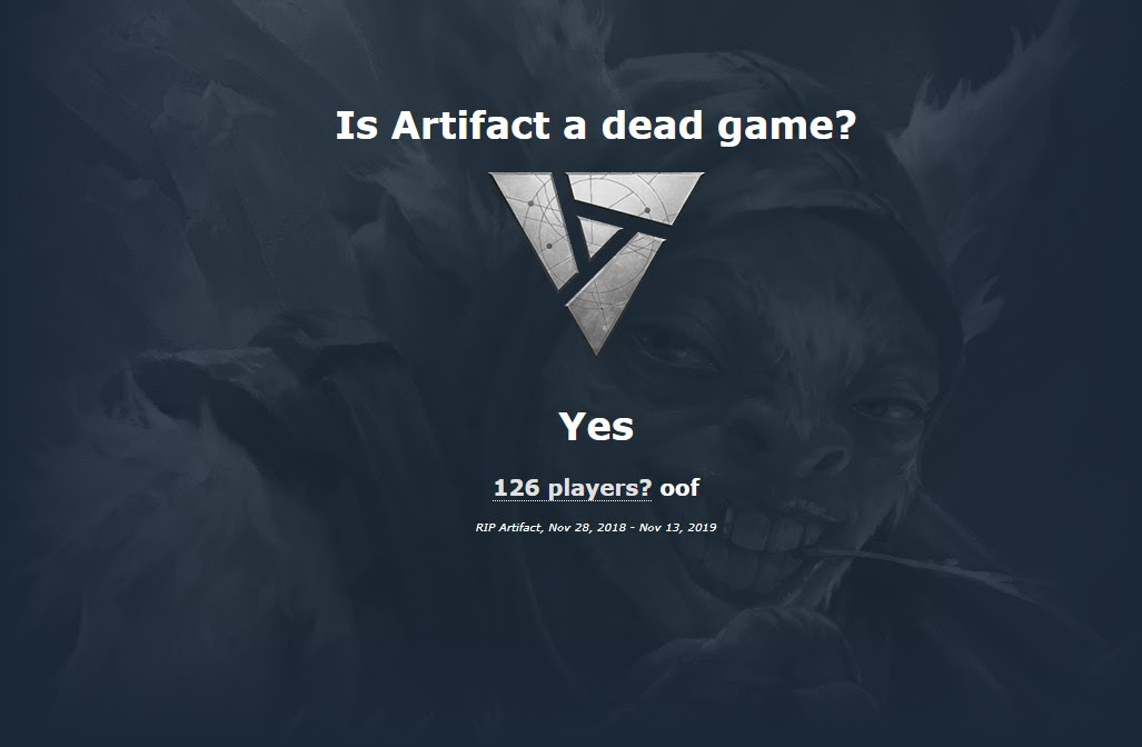 """Is Artifact a dead game?"" ""Yes. 126 players? oof. RIP Artifact, Nov 20, 2019 — Nov 13, 2019."""