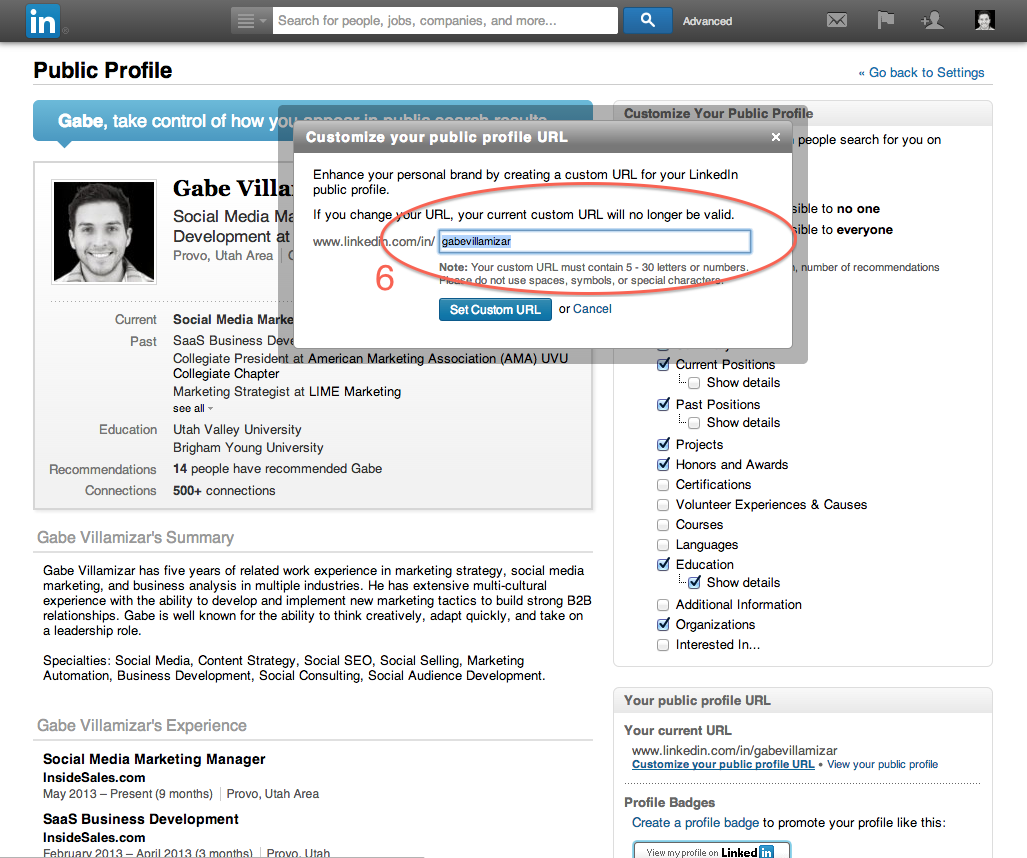 LinkedIn — How to Customize Your Profile URL - Gabe