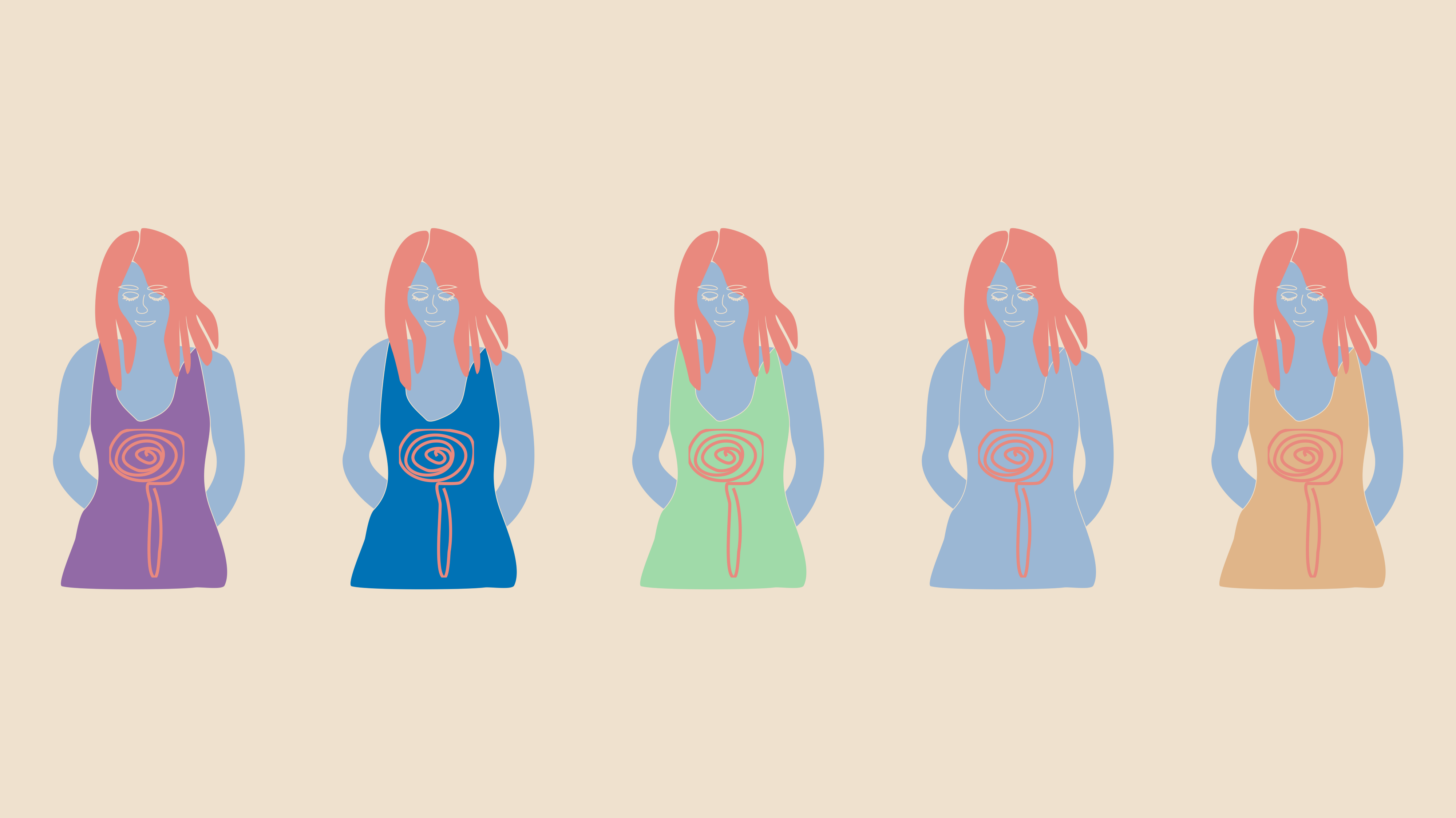 five women with pink hair illustration