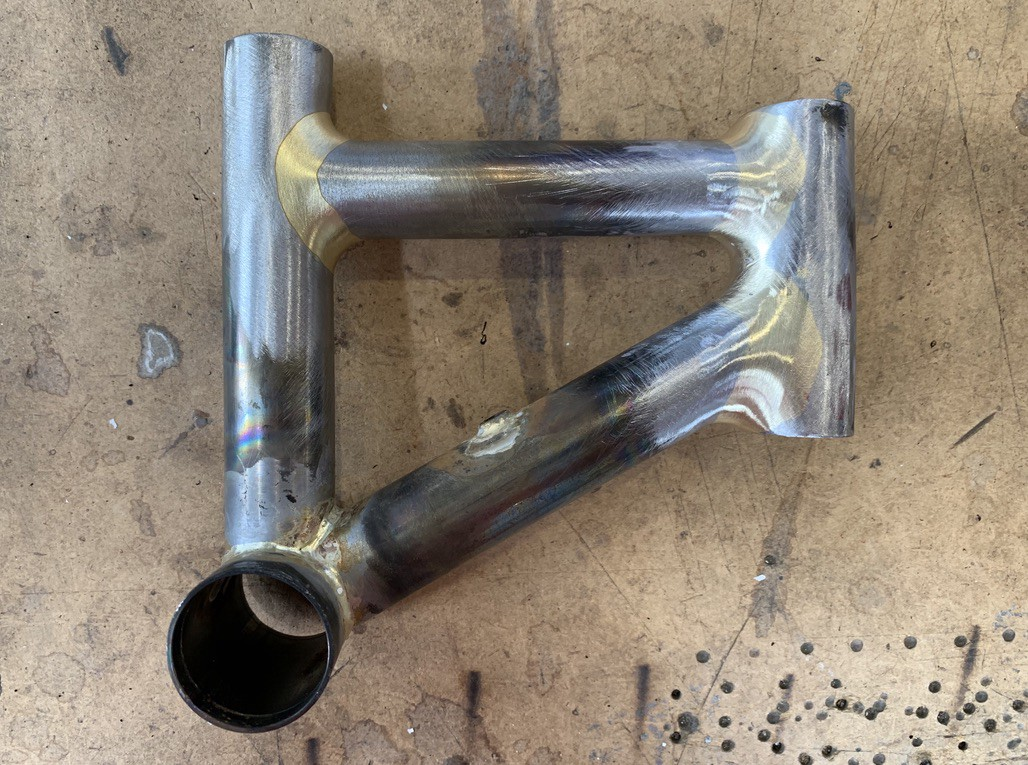 A miniature bicycle frame with polished fillet braze joints
