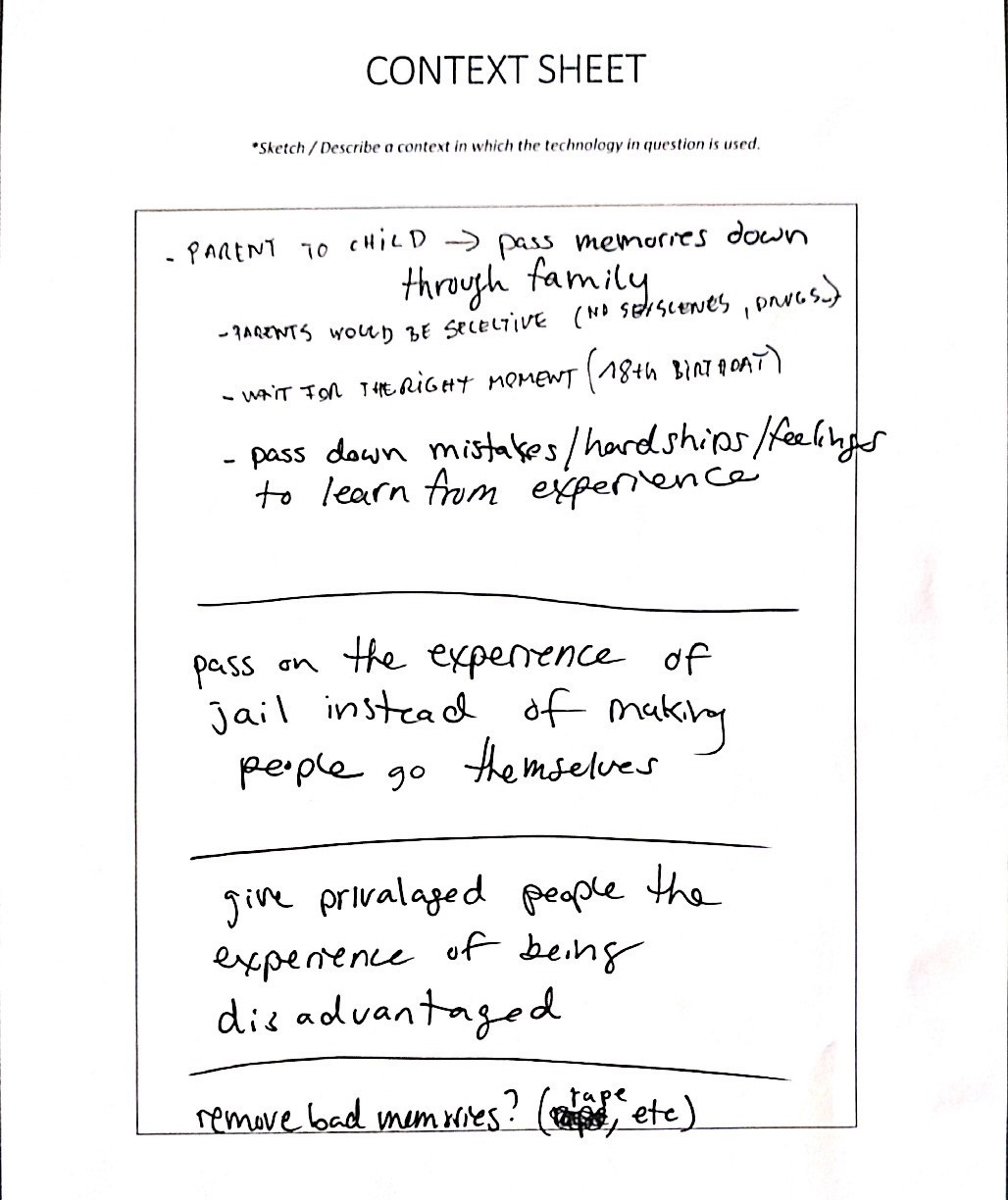 A context sheet featuring some hand-written text.