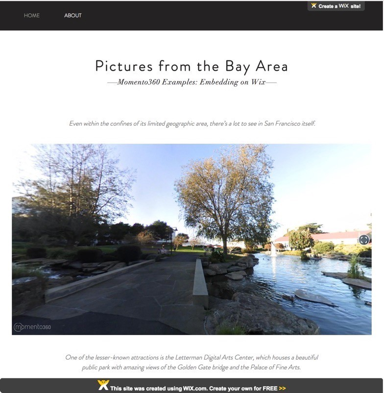 How to embed 360 photos in your Wix website - The Momento360