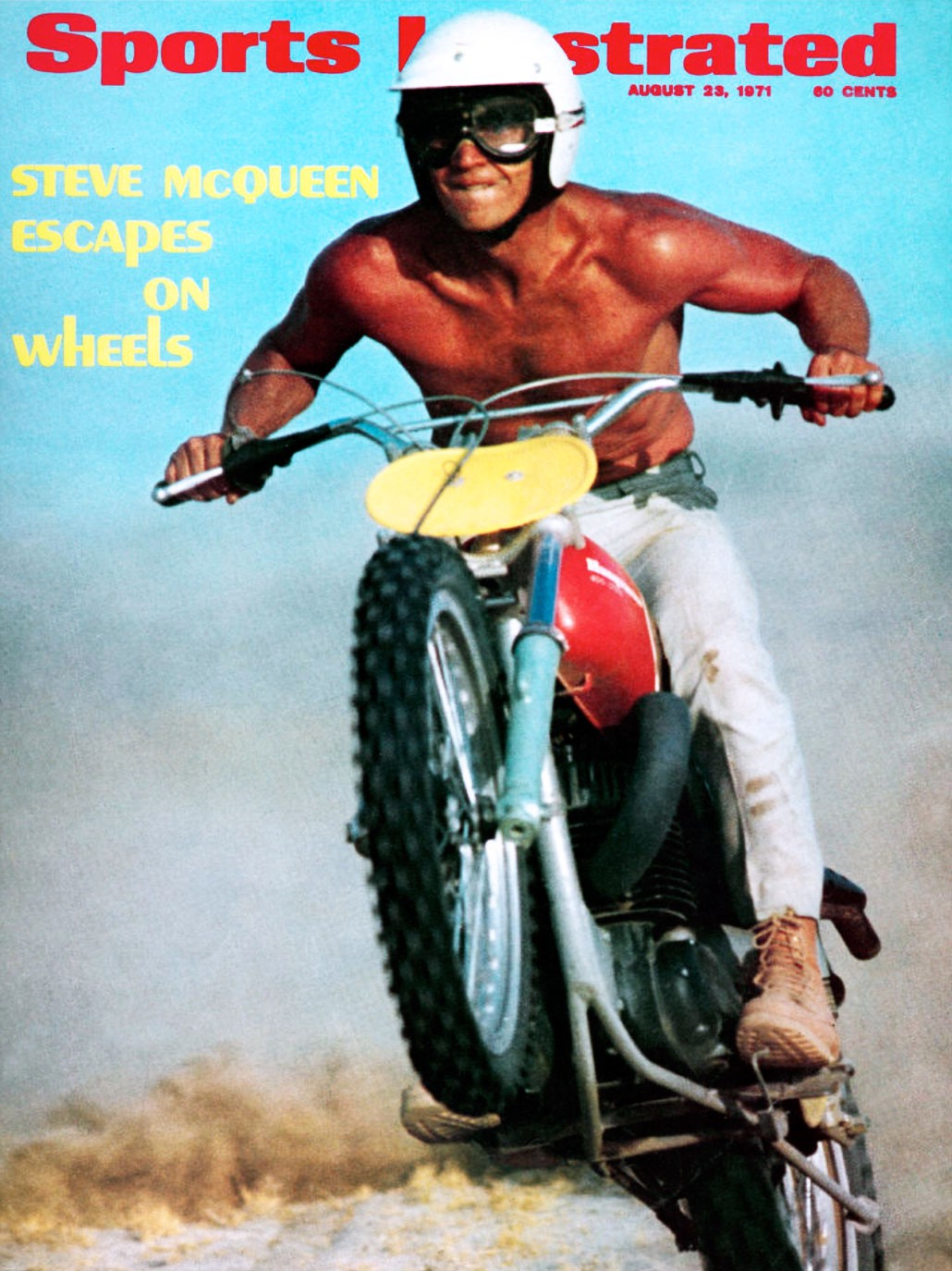 Steve McQueen coolly rides a motorcycle in the Mojave Desert on June 13, 1971, selected for the cover of Sports Illustrated.