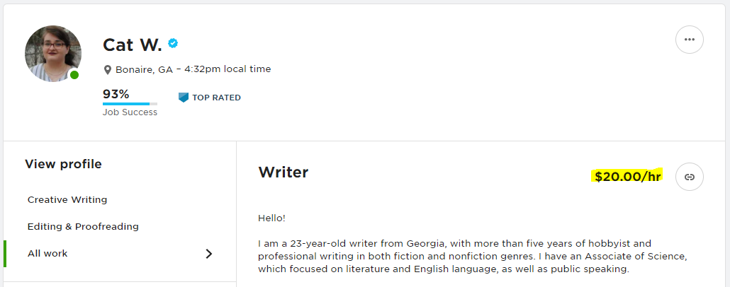 A screenshot of the author's Upwork Profile, with the hourly rate of $20 per hour highlighted in yellow.