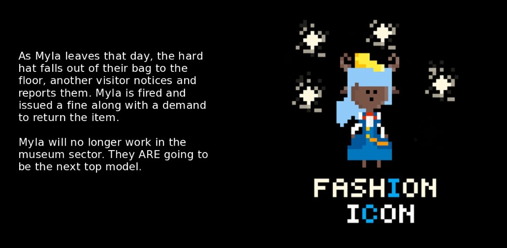 This screenshot shows Myla wearing a hard hat and the title 'FASHION ICON', and other text on the left.