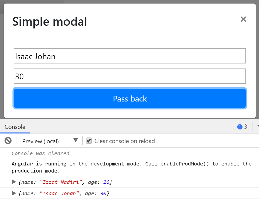 How to pass data to and receive from NG Bootstrap modals