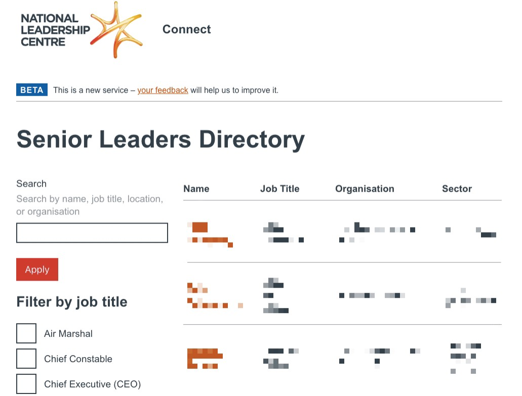 A screenshot of the Connect service, showing the 'Senior Leaders Directory'—personal details are pixelated