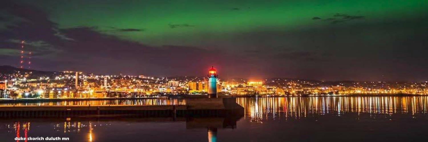 The Duluth MN Harbor. The lighthouse for the Port Entry is front and center.
